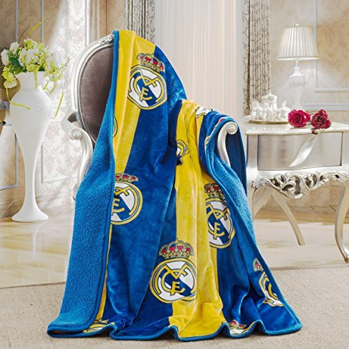 Real Madrid Silk Touch Sherpa Lined Throw Blanket 50x60""