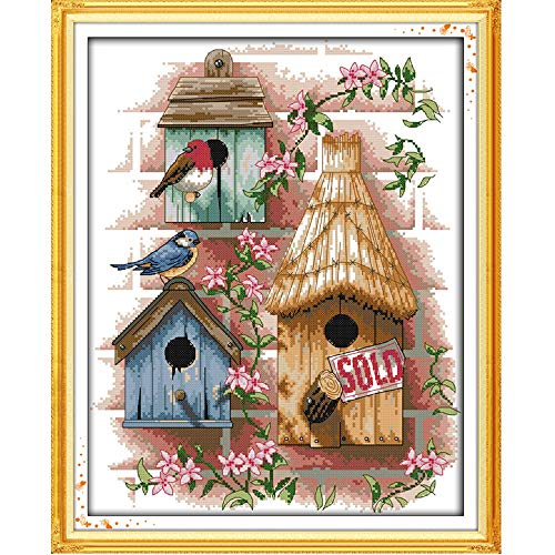 Zamtac DIY Handmade Needlework Counted Cross Stitch Set Embroidery Kit 14CT Log Cabin Pattern Cross-Stitching 37 44cm Home Decoration - (Cross Stitch Fabric CT Number: 14CT)