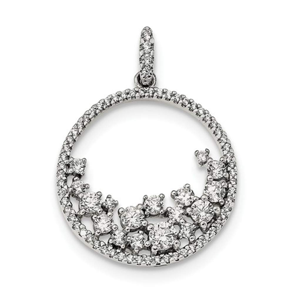 Solid .925 Sterling Silver CZ Circle Pendant 31 mm