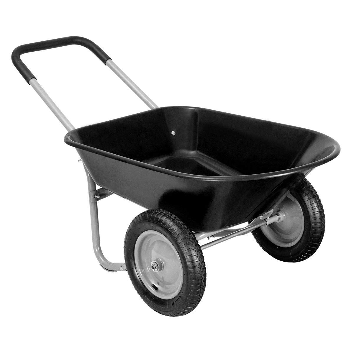 Giantex 2 Tire Wheelbarrow Yard Garden Cart Heavy Duty Landscape Wagon for Outdoor Lawn Use Utility Hualing Cart 330Lbs Load Capacity, Black by Giantex