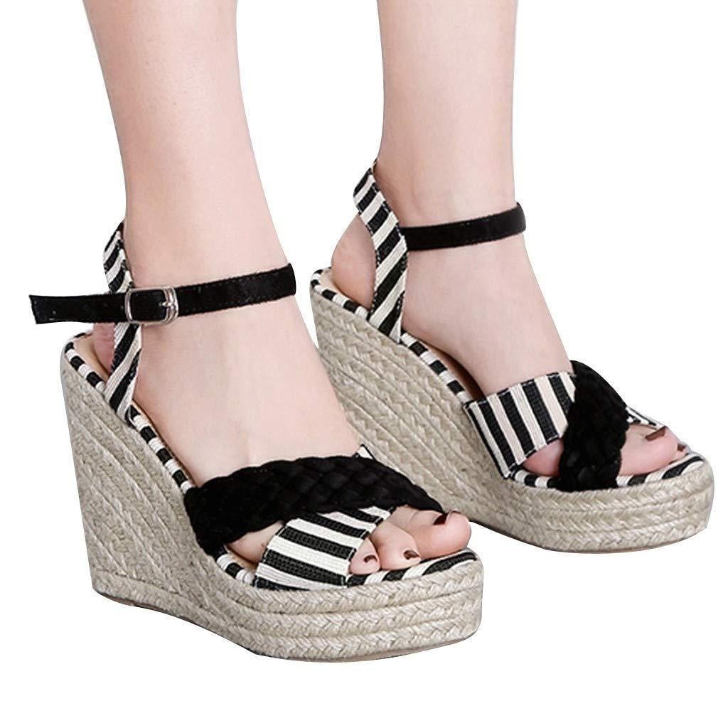 Women's Sandals Bummyo Wedge Platform High Heels Sandals Ladies Pumps Buckle Strap Striped Cross Peep Toe Casual Shoes(6.5M US, Black)