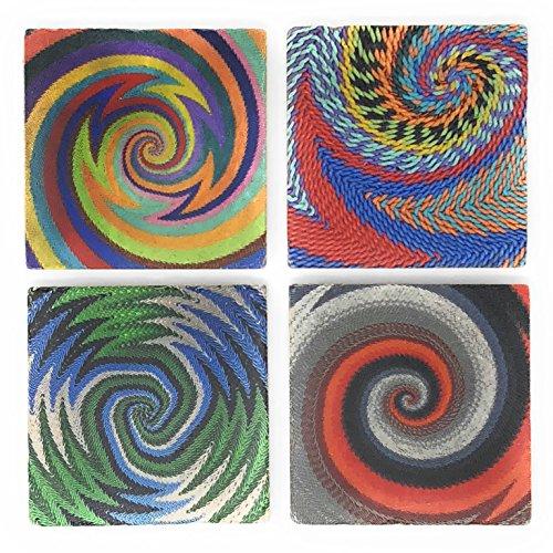 Studio Vertu Zulu Telephone Wire Baskets Marble Coasters, Set of 4
