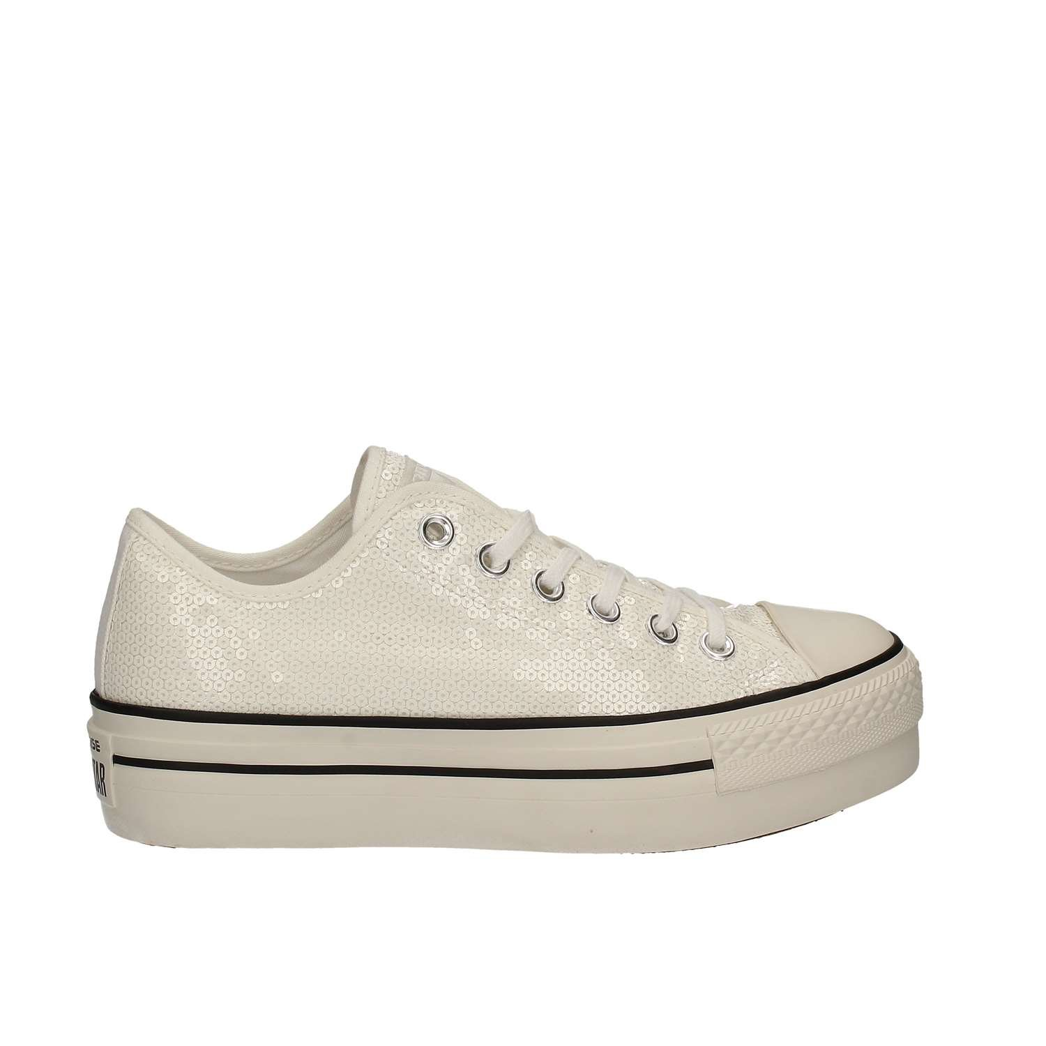 Converse Scarpa Chuck Taylor All Star Low Platform Paillettes Weiß