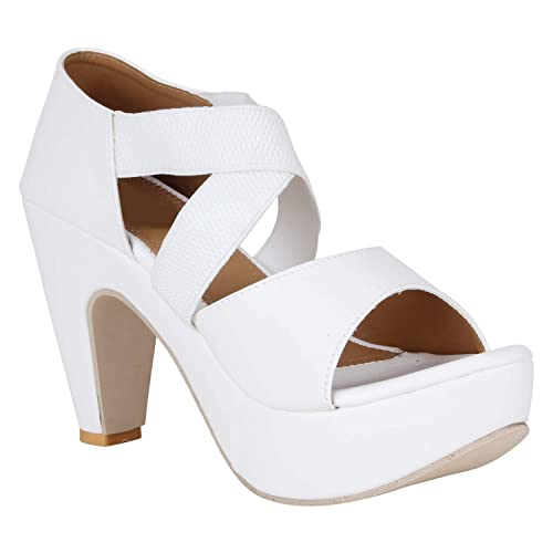 d181bc21618 Carrito Women's White Heel Sandals: Buy Online at Low Prices in ...