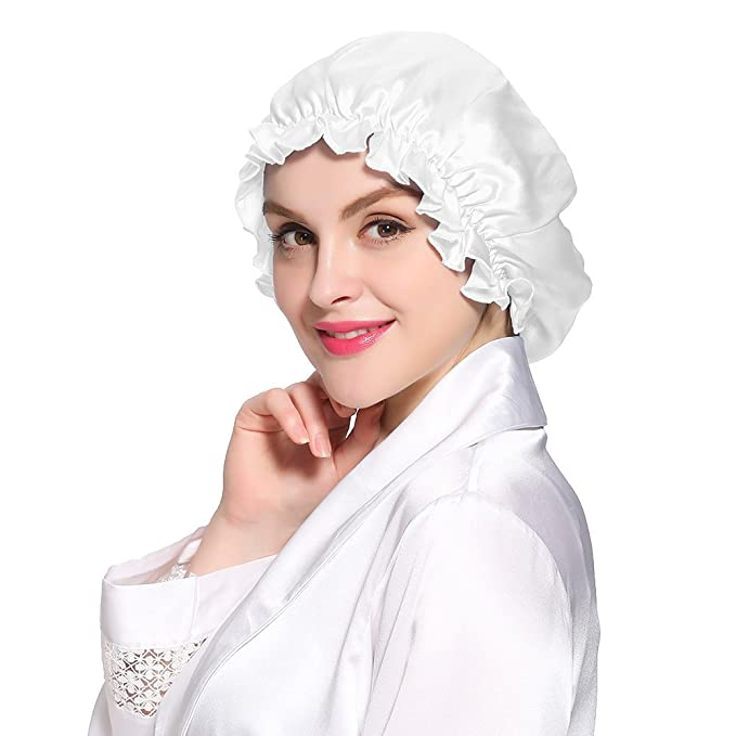 3beec1dff7d LILYSILK Flounced Night Sleep Cap Hat Pure 19 Momme Mulberry Silk White One  Size