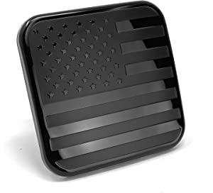 "LFPartS Black Flag Trailer Hitch Cover Rubber Tube Plug 2 Inch Insert Fit Any 2"" Receivers"