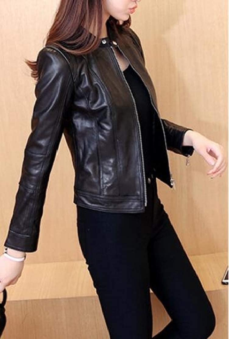 JuJuTa Women Motorcycle Fashion Faux Leather Fit Coat Jackets