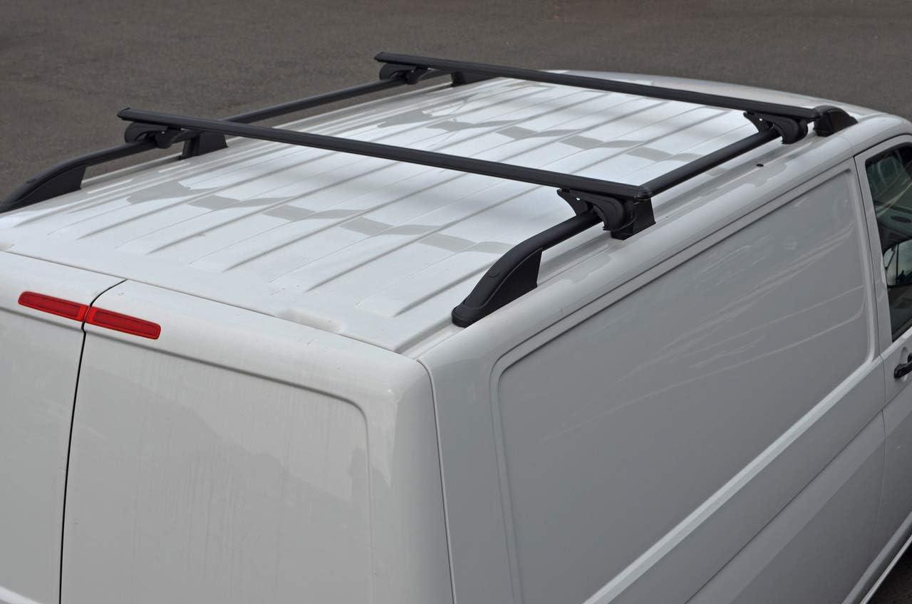 Alvm Parts Zubehör Schwarze Querstangen Für Dachreling Für T5 Transporter 100 Kg Abschließbar Auto