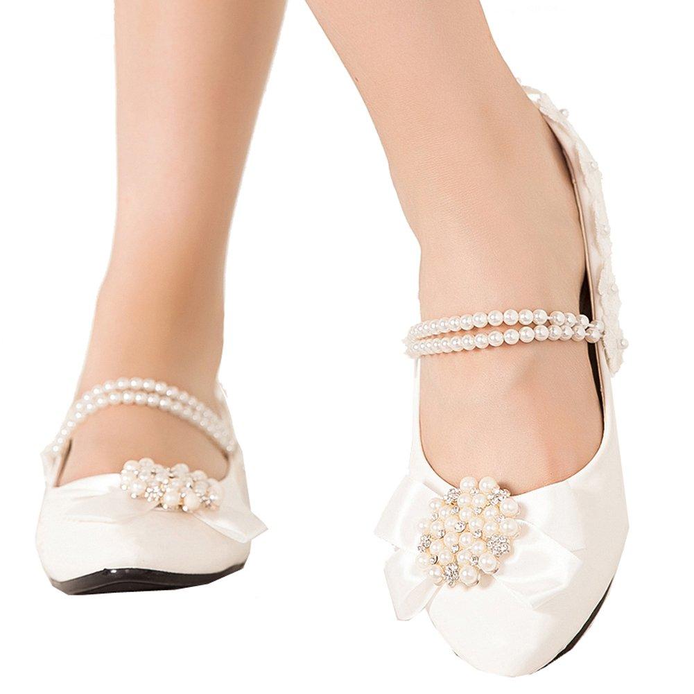 Getmorebeauty Women's Mary Janes Flats Pearls Flower Dress Wedding Shoes 8 B(M) US