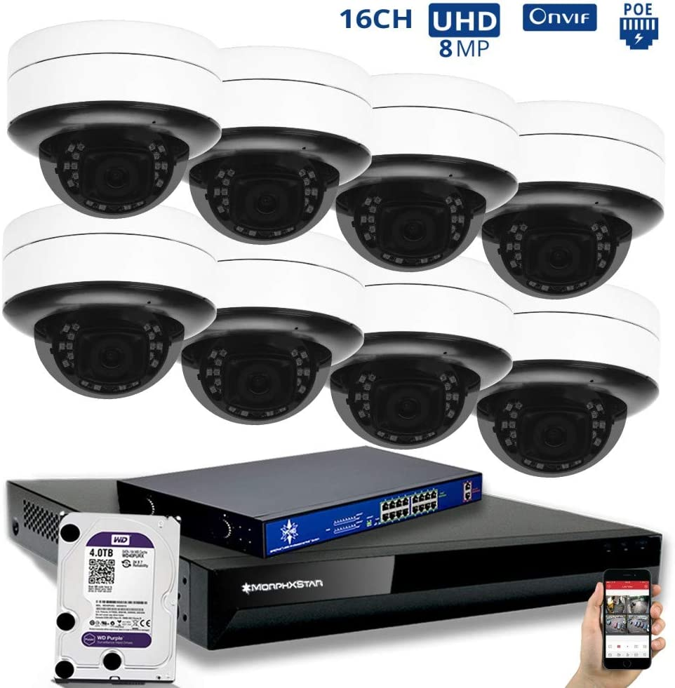 MorphXStar 8CH 4K NVR Network IP Security Camera System - 8 x HD 2160P 6MP 2.8~8mm Motorized Lens 80ft IR PoE IP Dome Camera + 4TB Hard Drive + 8 Ports PoE Switch