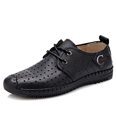 38900dbbbe7f Amazon.com  DeLamode Men Hole shoes Breathable Real Cow Genuine Leather  Cool Sandals  Clothing