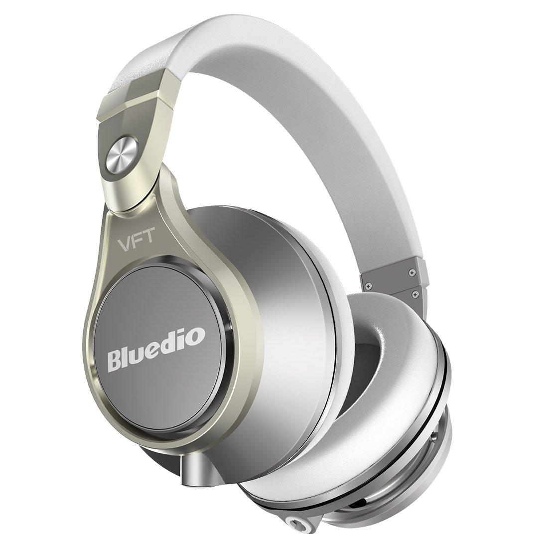 Bluedio U PLUS (UFO) Pro Extra Bass Auricolari Cuffie Bluetooth Brevettato PPS12 Drivers Over-Ear Cuffie DJ (Champagne Bianco)
