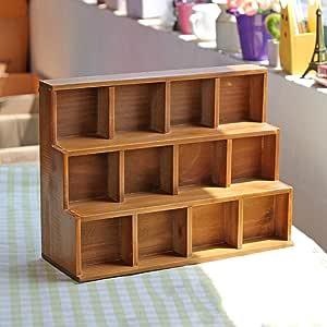 GYP Caja de almacenaje de madera sólida, hace la vieja ardilla creativa ardiente del escritorio de la sala de estar de los gabinetes de almacenaje Escalera 12 desechos del gabinete de la