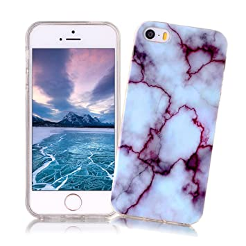 XiaoXiMi Funda iPhone 5/5S/SE con Textura de Mármol Carcasa de Silicona Slim Soft TPU Silicone Case Cover Funda Protectora Carcasa Delgado Ligero Caso ...