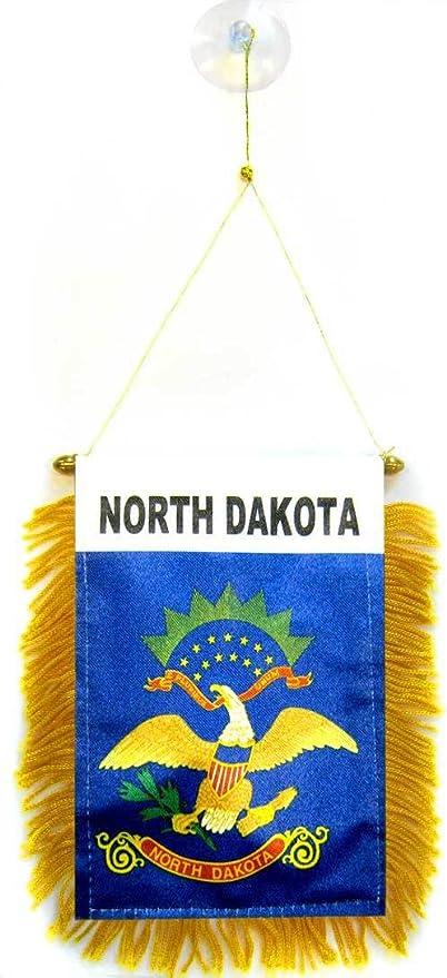 AZ FLAG BANDERIN de Dakota del Norte 15x10cm con Ventosa - BANDERINA Americana DE Dakota del Norte - EE.UU 10 x 15 cm para Coche: Amazon.es: Jardín
