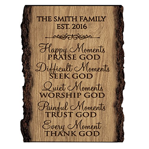 LifeSong Milestones Personalized Custom Family Name Sign Engraved with Family Name and EST. Date House Warming Gift (Happy Moments)]()
