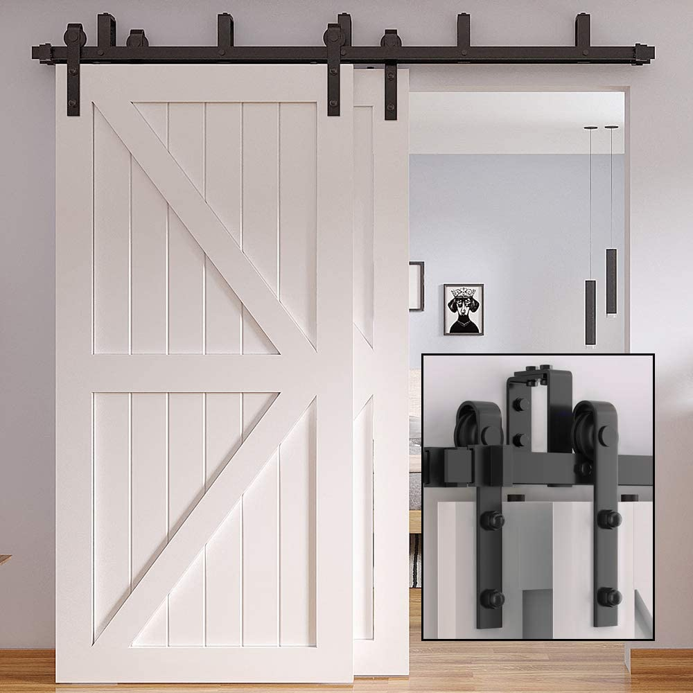 Bypass J Shape-2 skysen 8FT Low Ceiling Heavy Duty Sliding Barn Door Hardware Double Track Bypass Double Door Kit Black