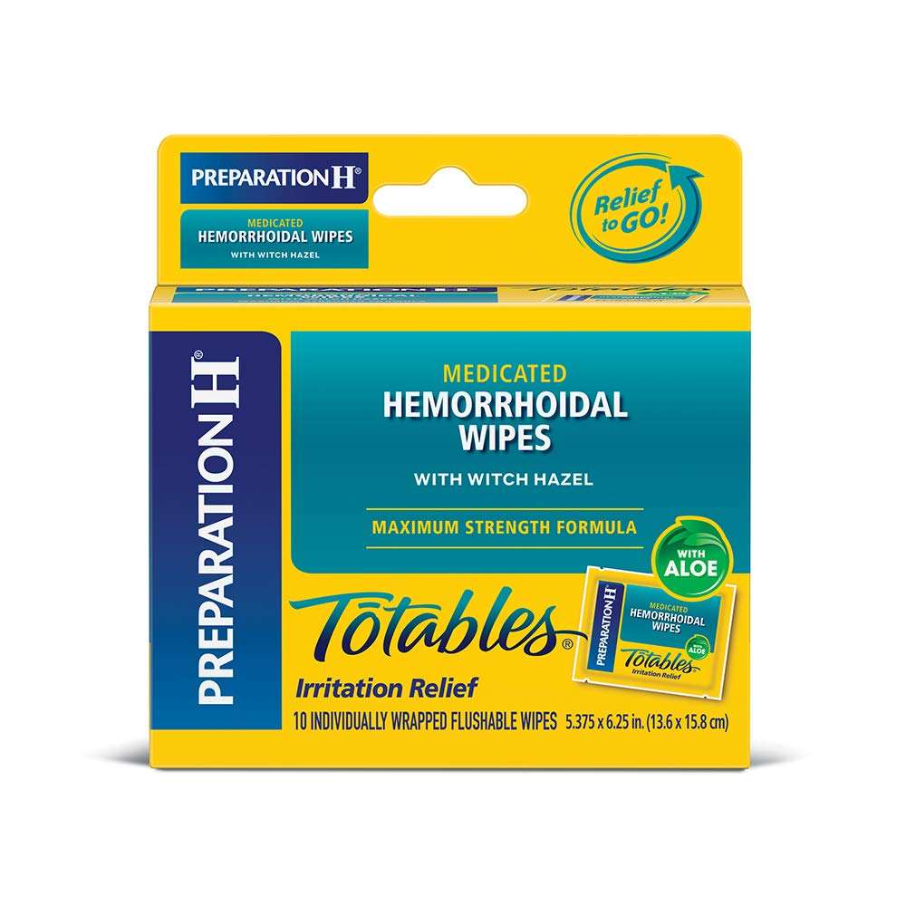 Preparation H (10 Count) Flushable Medicated Hemorrhoid Wipes, Maximum  Strength Relief with Witch