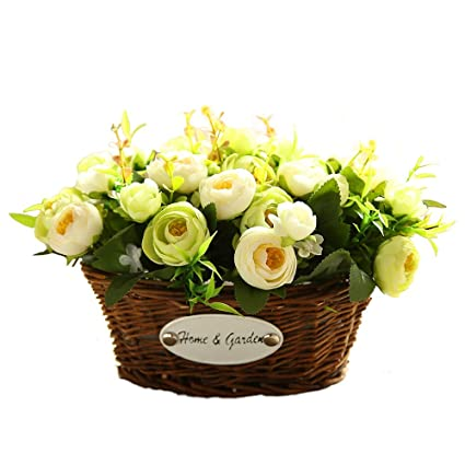 Hyxflower Artificial Fake Flowers Arrangements In Oval Basket Silk Plastic Floral  Table Centerpieces For Wedding Office