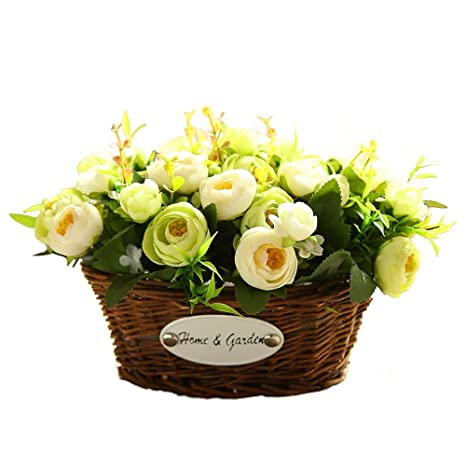 Amazon hyxflower artificial fake flowers arrangements in oval hyxflower artificial fake flowers arrangements in oval basket silk plastic floral table centerpieces for wedding office mightylinksfo