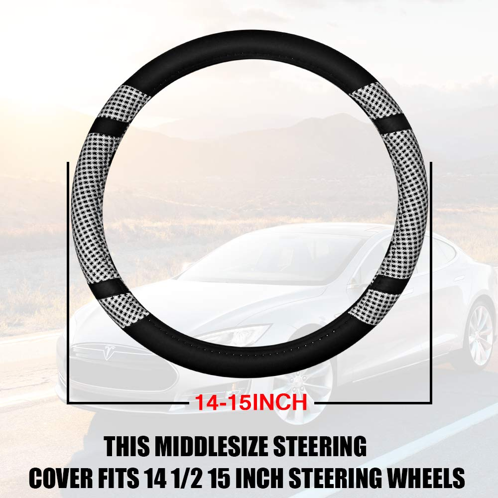 Gray GAMPRO Microfiber Auto Car Steering Wheel Cover Black Red Color Leather Steering Wheel Cover Warm Comfortable Anti-Slip Embossing Pattern Durable No Smell Diameter of 14 1//2 to 15 Inch