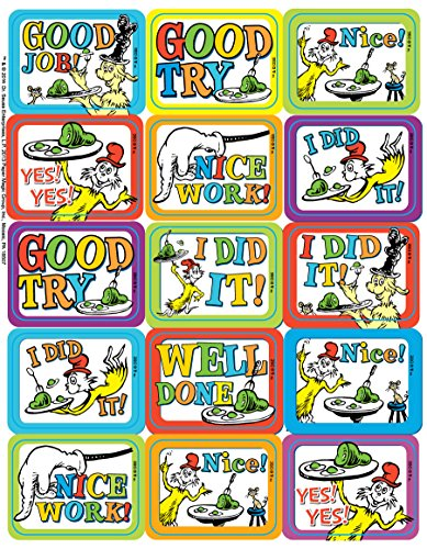 Paper Magic Eureka Dr. Seuss Green Eggs and Ham Stickers, 120 pc, 1.4'' W x 1'' -