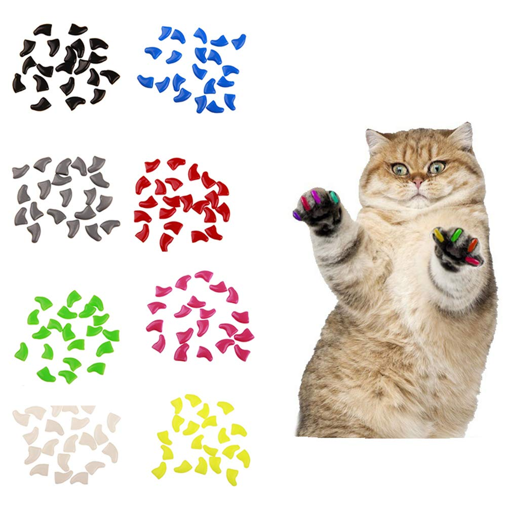 xxiaoTHAWxe 20Pcs Soft Plastic Colorful Cat Nail Caps Paw Claw Protector Cover with Glue - Blue S