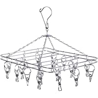 DIRECT FROM FACTORY Stainless Steel Clothes Drying Rack with 20 Clothespin Pegs – Metal Laundry Drip & Clip Hanger…