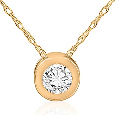 Amazon 12ct round solitaire bezel diamond pendant 14k yellow 12ct round solitaire bezel diamond pendant 14k yellow gold mozeypictures Choice Image