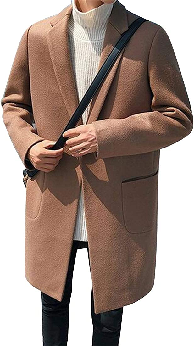 MMCP Mens Fall Winter One Button Slim Fit Solid Trench Pea Coat Jacket Overcoat