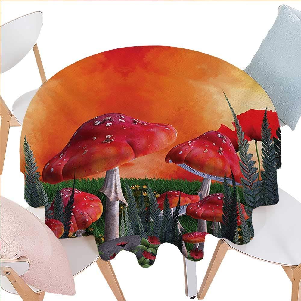 マッシュルームプリントテーブルクロス 秋の季節 田舎風景 広い牧場 太陽の日のファームテーマ 自然のプリント フランネルテーブルクロス 36インチ x 36インチ オレンジブルー レッド D50