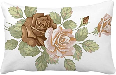 Amazon Com Diythinker Rose Flowers Leaves Drawing White Roses Throw Pillow Lumbar Insert Cushion Cover Home Decoration Home Kitchen