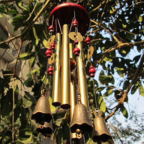 Chinese Traditional 4 Tubes 5 Bells Bronze Wind Chime for Outdoor Garden and Home Decor Review