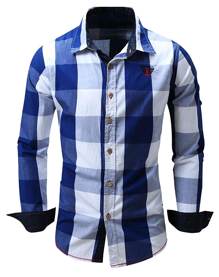 Yayu Mens Plaid Slim Fit Casual Button Down Shirt Dress Shirts