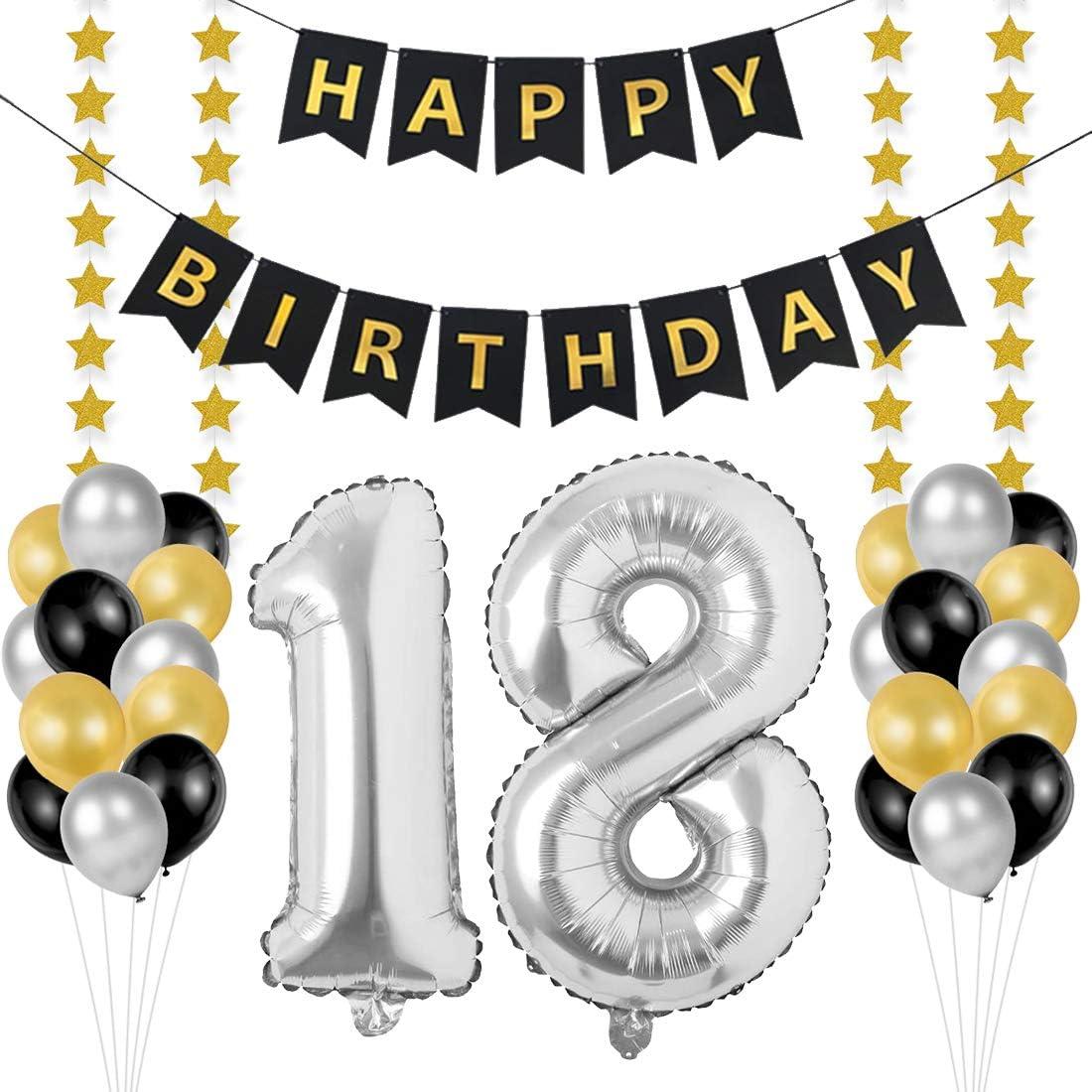 Globos 18 Cumpleaños, decoracion 18 años, Happy Birthday Bandera Feliz Cumpleaños 18 Años, Número 18 Globos de Papel Plata para Hombres y Mujeres Adultos Oro Negro Decoración de Fiesta: Amazon.es: Hogar