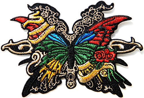 Butterfly Red Rose Punk Rock Hippie Tatoo Lady Rider Biker Tatoo Jacket T-shirt Patch Sew Iron on Embroidered Sign Badge ()