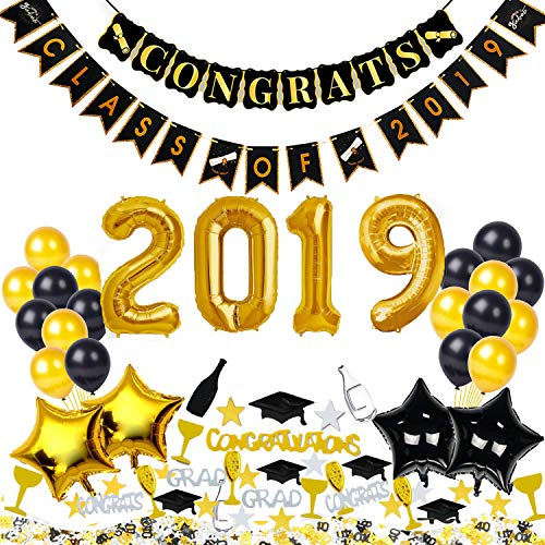 Graduation Balloon Party Decorations Gift - Congrats Class of 2019 Photo Backdrop, Grad Party Supplies, Graduation Banner, Black Gold Glamorous High School Prom, College 2019 Graduation Decorations]()
