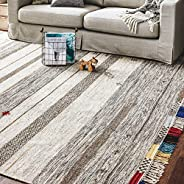 Amazon Brand – Stone & Beam Contemporary Boho Colorful Fringe Wool Area Rug, 8 x 10 Foot, Tan M