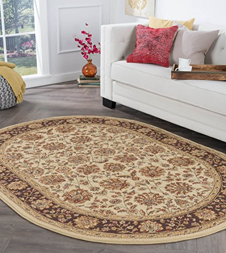 Image of Marietta Transitional Floral Beige Oval Area Rug, 5' x 7' Oval