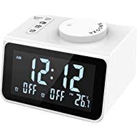 LATME-Alarm-Clock-Radio-for-Heavy-Sleepers W Dual Alarms,3.2'' Digital Display and Dimmer,7 Alarm Sounds,Snooze,2 USB…