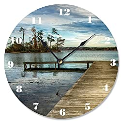 Stupell Home Décor Dock Overlooking Island Vanity Clock, 12 x 0.4 x 12, Proudly Made in USA