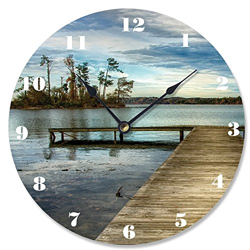 Stupell Home Décor Dock Overlooking Island Vanity Clock, 12 x 0.4 x 12, Proudly Made in USA ()