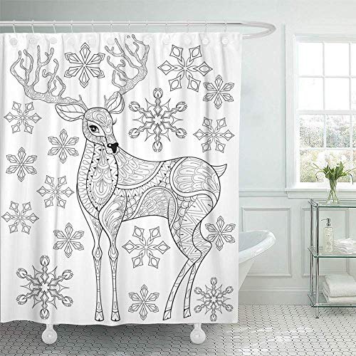 Abaysto Zentangle Christmas Reindeer on Snowflakes for Adult Antistress Coloring Pages Decor Shower Curtain Sets with Hooks Polyester Fabric Great Gift]()