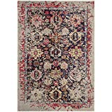 Safavieh Monaco Collection MNC206G Modern Abstract Oriental Grey and Multi Distressed Area Rug (2'2″ x 4′)