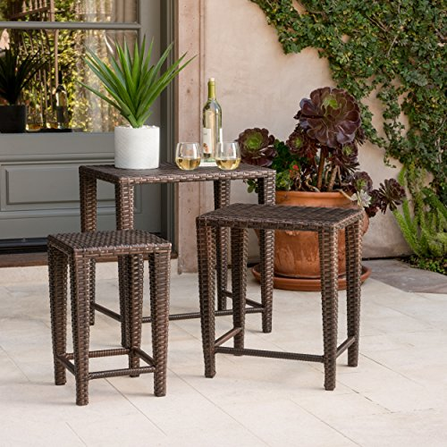 Mayall Patio Furniture 3 Piece Brown Nested Outdoor Wicker Side Table Set ()