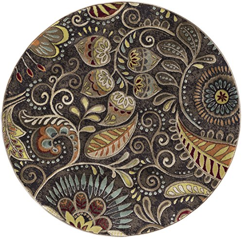 Giselle Transitional Floral Brown Round Area Rug, 5' - Girls Round Brown