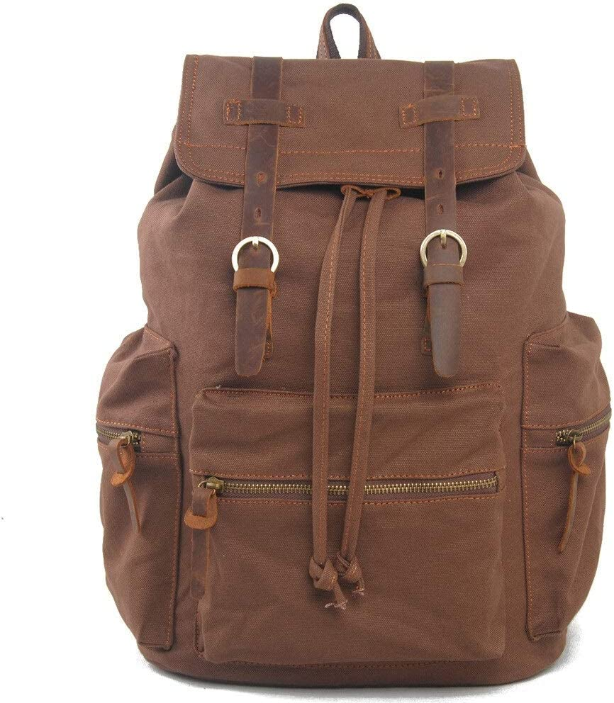 Color : Brown, Size : 30cm16cm42cm Lydianzishangwu Fashion Laptop Canvas Mens Canvas Travel College Backpack Large Capacity Leisure Travel Bag