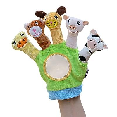 BUDIUK Marioneta Marionetas de Dedo Guante Animales de Granja Guantes de Mano Juguetes de títeres Baby Story Time Props Muñecas educativas Suaves Juguetes for bebés y niños pequeños (Color : A): Hogar