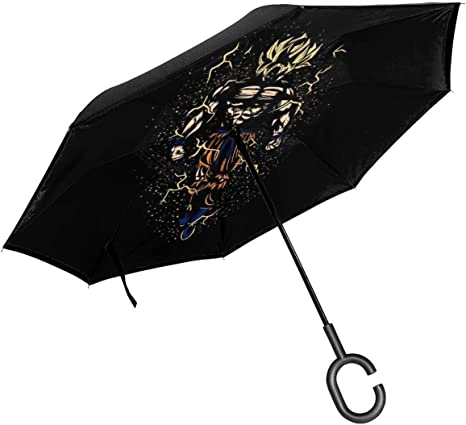 Upside Down Umbrellas with C-Shaped Handle for Women and Men Reverse Inverted Windproof Fire Dragon Umbrella Double Layer Inside Out Folding Umbrella