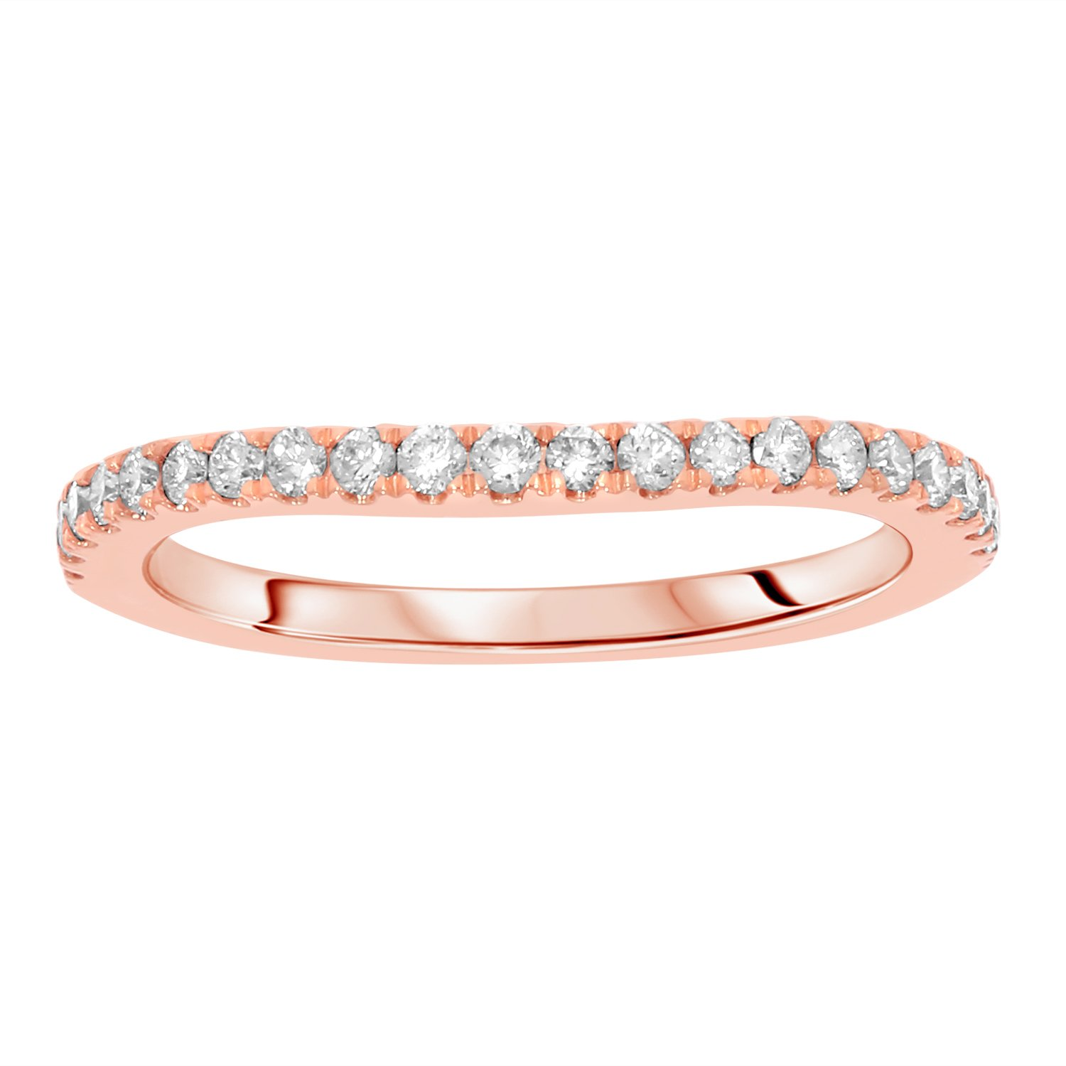 1/4 cttw Round Cut White Real Diamond Wedding Anniversary Band Ring Solid 14k Gold (rose-gold)